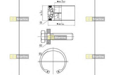 Пiдшипник ступицi колеса STARLINE LO03449