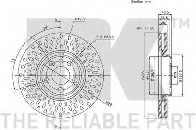 Торм.диск перед. Citroen Jumpy 1.6I-2.0HDI 95.10-, Peugeot Expert NK 201933-2