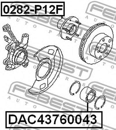 Пiдшипник ступицi колеса FEBEST DAC43760043-1