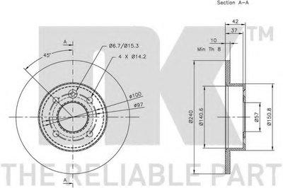 Гальмівний диск зад. (240x10) Opel Astra G NK 203633-2