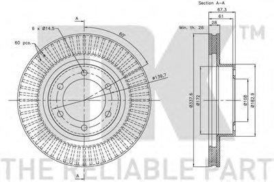 Диск гальмівний перед. Toyota Land Cruiser 3.0-4.0 03- NK 204598-1