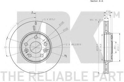 Диск гальмівний перед. (280x24) Renault Kangoo 1.5dCi 08- NK 203974-2