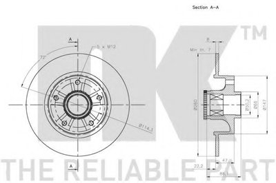 (Coated) Диск гальмівний задній (з підшипником) 260x86,2 Renault Fluence, Megane III, CC, 08- NK 313973-1