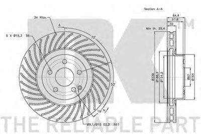 Диск гальмівний перед. DB CLS-Klasse Coupe 04- (330x32) NK 203361-1