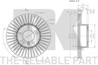 Гальмівний диск перед. BMW 3 (E90/E90N) 320d 05-/X1 (E84) 09- NK 201582-2