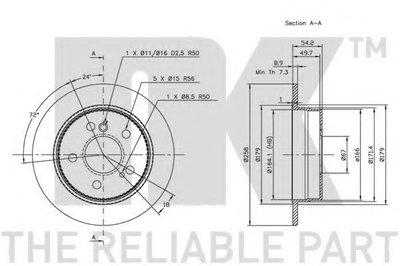 Диск гальмівний DB W124, W201 задн. NK 203307-2