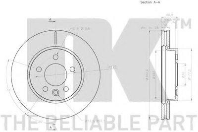 Диск гальмівний передній VW Amarok 2010- NK 2047139-1