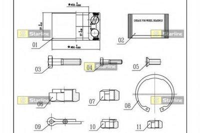 Пiдшипник ступицi колеса STARLINE LO01358