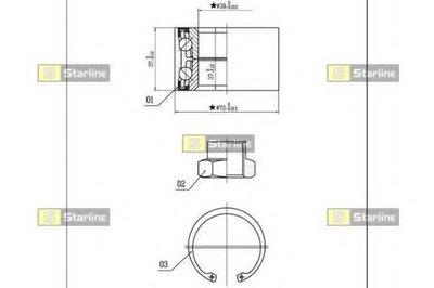 Пiдшипник ступицi колеса STARLINE LO01432